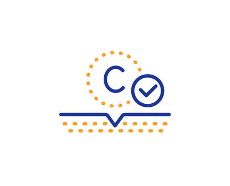 Cream care sign. Collagen skin line icon. Cosmetic lotion symbol. Colorful outline concept. Blue and orange thin line collagen skin icon. Vector Ilustração
