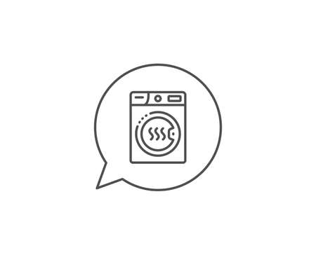 Dryer machine line icon. Chat bubble design. Laundry service sign. Dry clothing symbol. Outline concept. Thin line dryer machine icon. Vector