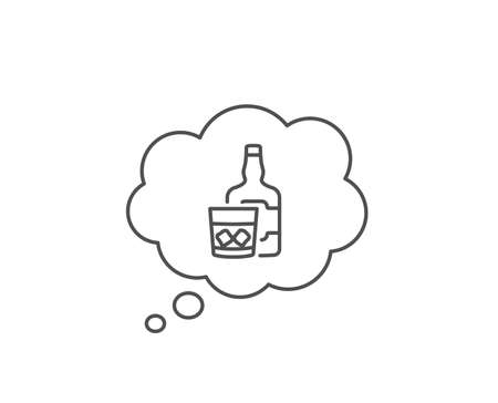 Whiskey glass with ice cubes line icon. Chat bubble design. Scotch alcohol sign. Outline concept. Thin line whiskey glass icon. Vector Ilustração