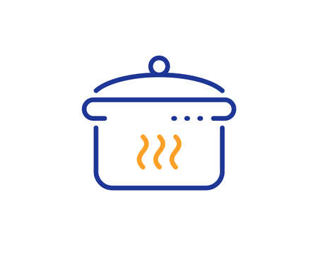 Cooking sign. Boiling pan line icon. Food preparation symbol. Colorful outline concept. Blue and orange thin line boiling pan icon. Vector Illustration
