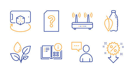 Unknown file, Wifi and Instruction info line icons set. Users chat, Water bottle and Plants watering signs. Augmented reality, Discount symbols. Doc with question mark, Internet router. Vector Stock fotó - 131754329