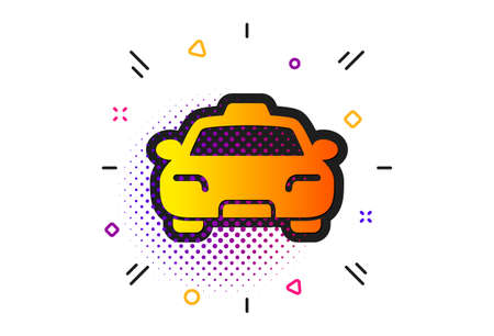 Client transportation sign. Halftone circles pattern. Taxi icon. Passengers car symbol. Classic flat taxi icon. Vector Illustration