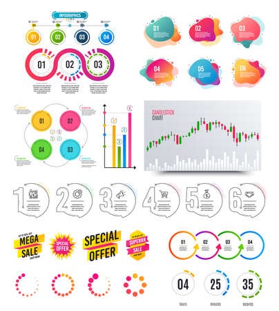 Infographic elements. Financial graph, timelines, options banner badges. Sale discount shapes, countdown timer. Analytics chart, timeline infographics. Offer layout page. Vector graphs and charts