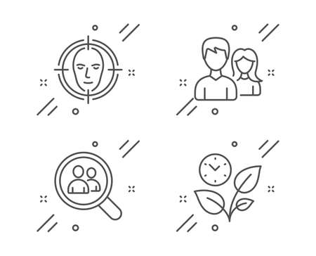 Search employees, Teamwork and Face detect line icons set. Leaves sign. Staff analysis, Man with woman, Select target. Grow plant. Business set. Line search employees outline icon. Vector