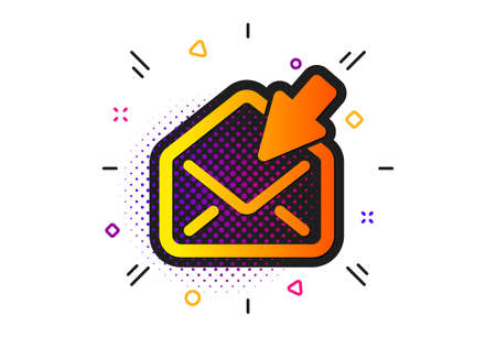 View Message correspondence sign. Halftone circles pattern. Open Mail icon. E-mail symbol. Classic flat open Mail icon. Vector Çizim