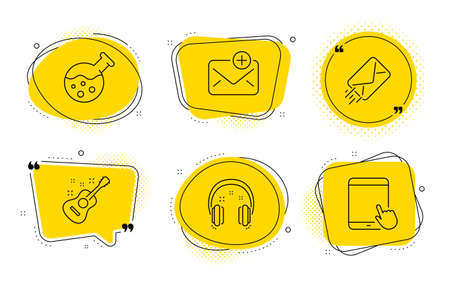 Headphones, Chemistry lab and Tablet pc signs. Chat bubbles. New mail, Guitar and E-mail line icons set. Add e-mail, Acoustic instrument, Mail delivery. Earphones. Education set. Vector