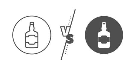 alcohol sign. Versus concept. Whiskey bottle line icon. Line vs classic whiskey bottle icon. Vector Ilustração