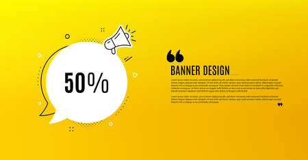 50% off Sale. Yellow banner with chat bubble. Discount offer price sign. Special offer symbol. Coupon design. Flyer background. Hot offer banner template. Bubble with discount text. Vector