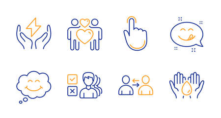 Hand click, Opinion and Yummy smile line icons set. Love couple, Smile and Communication signs. Safe energy, Safe water symbols. Location pointer, Choose answer. People set. Vector