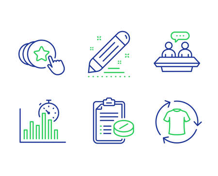 Report timer, Brand contract and Employees talk line icons set. Hold heart, Medical prescription and Change clothes signs. Growth chart, Edit report, Collaboration. Love brand. Business set. Vector Illustration