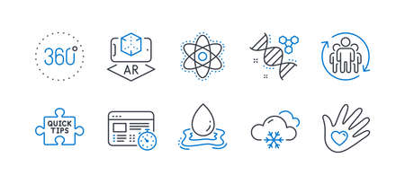 Set of Science icons, such as Chemistry dna, Teamwork, Snow weather, Augmented reality, 360 degrees, Water splash, Chemistry atom, Web timer, Quick tips, Social responsibility line icons. Vector