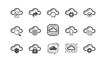 Cloud data and technology icons. Hosting, Computing data and File storage. Computer sync classic icon set. Quality set. Vector