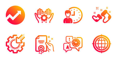 Time management, Working hours and Santa boots line icons set. Seo gear, Certificate and Employee hand signs. Audit, Seo internet symbols. Office chat, Project deadline. Business set. Vector Çizim