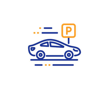 Park place sign. Car parking line icon. Hotel service symbol. Colorful outline concept. Blue and orange thin line car parking icon. Vector
