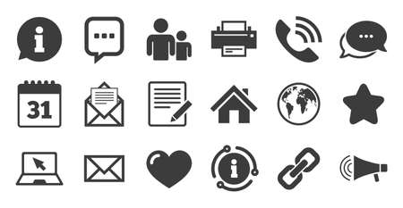 Set of Communication, Conference and Information icons. Information, chat bubble icon. E-Mail, Printer and Internet signs. Speech bubble, Support and Phone call symbols. Quality set. Vector