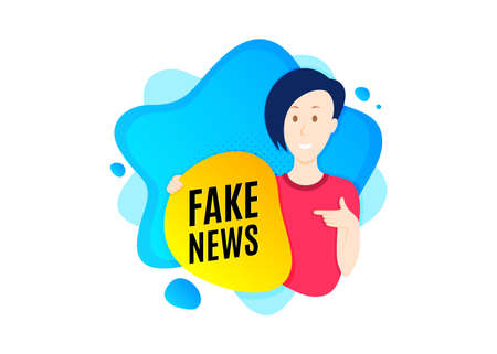 Fake news symbol. Cut out people badge. Media newspaper sign. Daily information. Dynamic shape offer. Fake news text. Cut out people dynamic banner. Worker person badge. Vector