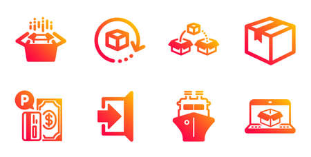 Parcel, Exit and Return package line icons set. Parcel shipping, Packing boxes and Ship signs. Parking payment, Online delivery symbols. Shipping box, Escape. Transportation set. Vector