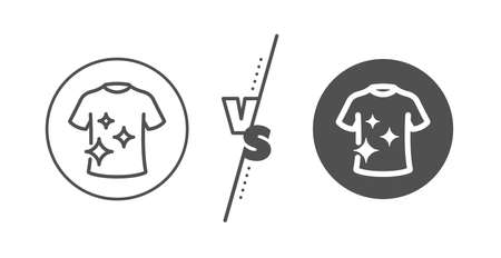Laundry shirt sign. Versus concept. Clean t-shirt line icon. Clothing cleaner symbol. Line vs classic clean t-shirt icon. Vector