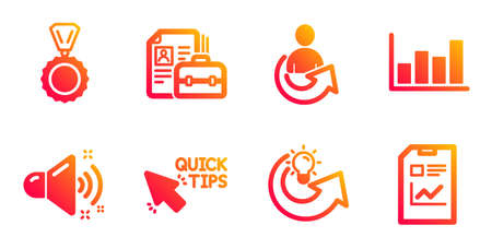 Quick tips, Loud sound and Report diagram line icons set. Share idea, Share and Vacancy signs. Medal, Report document symbols. Helpful tricks, Music. Education set. Vector Çizim
