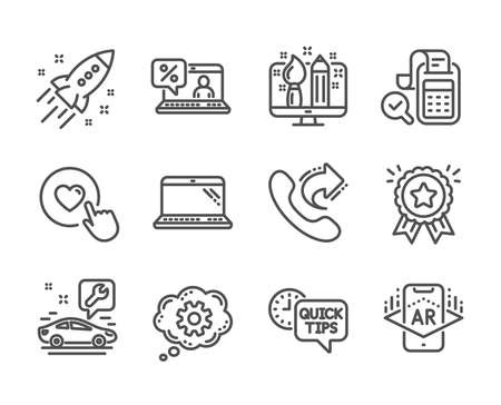 Set of Technology icons, such as Like button, Augmented reality, Car service, Online loan, Bill accounting, Loyalty award, Cogwheel, Startup rocket, Laptop, Creative design, Quick tips. Vector