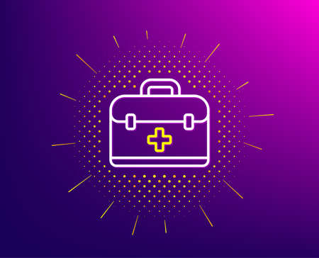 First aid kit line icon. Halftone pattern. Medical case sign. Gradient background. First aid line icon. Yellow halftone pattern. Vector