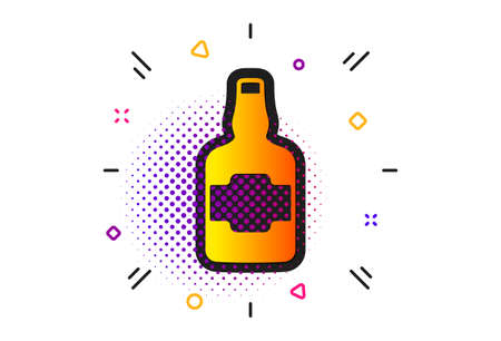 Scotch alcohol sign. Halftone circles pattern. Whiskey bottle icon. Classic flat whiskey bottle icon. Vector