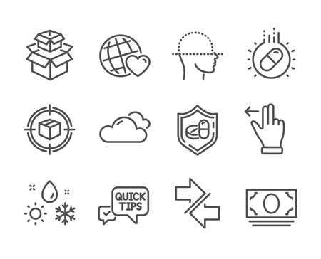 Set of Business icons, such as Packing boxes, Capsule pill, Cash money, Synchronize, Parcel tracking, Medical tablet, Cloudy weather, Face scanning, Touchscreen gesture, Quick tips. Vector Çizim