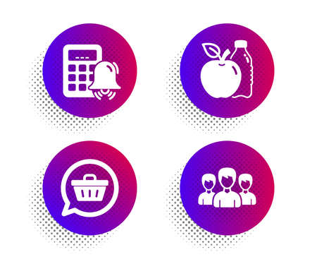 Shopping cart, Apple and Calculator alarm icons simple set. Halftone dots button. Group sign. Dreaming of gift, Diet food, Accounting. Group of people. Business set. Vector