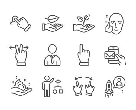 Set of People icons, such as Touchscreen gesture, Messenger mail, Helping hand, Drag drop, Skin care, Healthy face, Leaf, Human, Click hand, Startup, Move gesture, Algorithm line icons. Vector