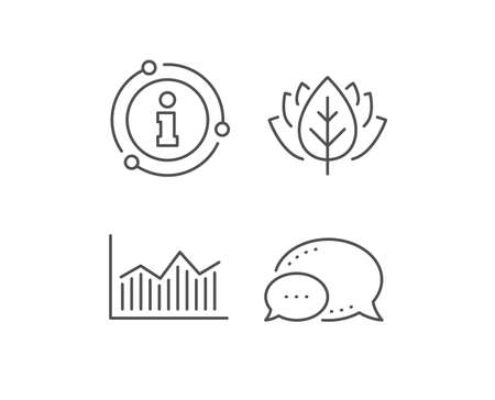 Financial chart line icon. Chat bubble, info sign elements. Economic graph sign. Stock exchange symbol. Business investment. Linear money diagram outline icon. Information bubble. Vector