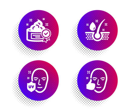Cream, Serum oil and Uv protection icons simple set. Halftone dots button. Healthy face sign. Best lotion, Healthy hairs, Ultraviolet. Beauty set. Classic flat cream icon. Vector