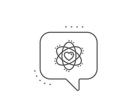 Atom with heart line icon. Chat bubble design. Energy sign. Chemical element symbol. Outline concept. Thin line atom icon. Vector