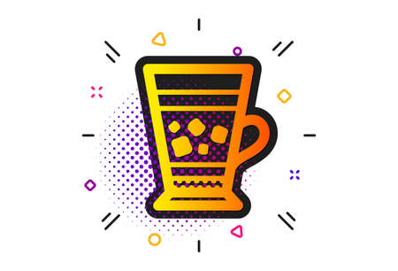 Cold drink sign. Halftone circles pattern. Frappe coffee icon. Beverage symbol. Classic flat frappe icon. Vector