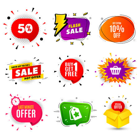 Get Extra 10% off Sale. Banner badge, flash sale bubble. Discount offer price sign. Special offer symbol. Save 10 percentages. Last minute offer. Sticker badge, comic bubble. Discounts box. Vector