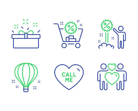 Present box, Shopping cart and Call me line icons set. Discount, Air balloon and Love couple signs. Sale offer, Discount, Love sweetheart. Sale shopping. Holidays set. Vector