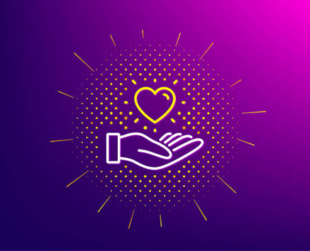 Hold heart line icon. Halftone pattern. Friends love sign. Brand ambassador hand symbol. Gradient background. Hold heart line icon. Yellow halftone pattern. Vector