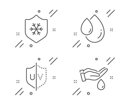 Clean skin, Uv protection and Oil drop line icons set. Wash hands sign. Cold protect, Ultraviolet, Serum. Skin care. Beauty set. Line clean skin outline icon. Vector