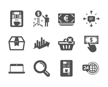 Set of Business icons, such as Coffee vending, Growth chart, 24h service, Sms, Coffee maker, Research, Delete purchase, Laptop, Payment click, Income money, Euro currency, Package box. Vector Çizim