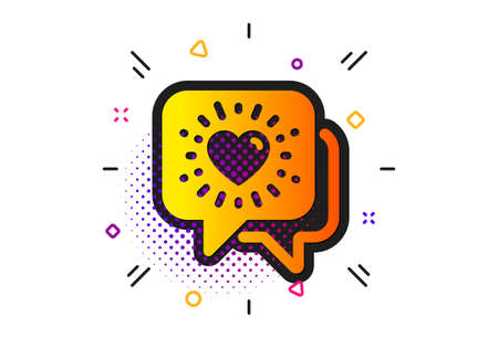 Friendship love sign. Halftone circles pattern. Friends chat icon. Assistance business symbol. Classic flat friends chat icon. Vector Çizim