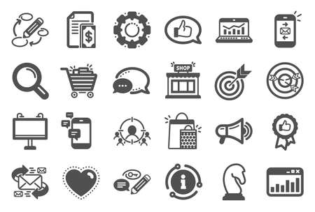 Marketing, research icons. Set of Strategy target, Feedback, Advertisement campaign icons. Research marketing, Communication and Keywords. Chess Knight, Target, Mail. Business strategy. Vector