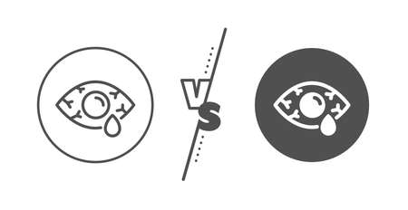 Oculist clinic sign. Versus concept. Сonjunctivitis eye line icon. Optometry vision symbol. Line vs classic Сonjunctivitis eye icon. Vector 일러스트