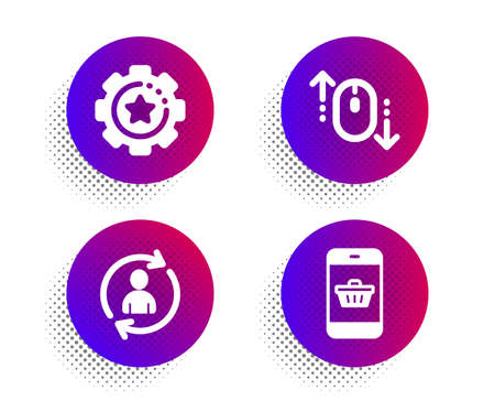 Person info, Settings gear and Scroll down icons simple set. Halftone dots button. Smartphone buying sign. Refresh user data, Technology process, Mouse swipe. Website shopping. Business set. Vector Illustration