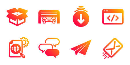 Open box, Seo script and Scroll down line icons set. Paper plane, Seo stats and Parking garage signs. Talk bubble, E-mail symbols. Delivery package, Programming. Technology set. Vector