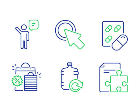 Agent, Capsule pill and Shopping bags line icons set. Click here, Refill water and Strategy signs. Business person, Medicine drugs, Sale discount. Push button. Business set. Vector Çizim