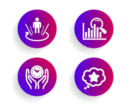 Augmented reality, Search and Safe time icons simple set. Halftone dots button. Loyalty star sign. Virtual reality, Analytics, Management. Bonus reward. Business set. Vector Reklamní fotografie - 131754558