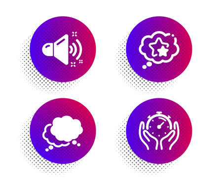 Loud sound, Ranking stars and Speech bubble icons simple set. Halftone dots button. Timer sign. Music, Winner award, Chat message. Deadline management. Education set. Vector Иллюстрация