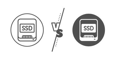 Computer memory component sign. Versus concept. Ssd line icon. Data storage symbol. Line vs classic ssd icon. Vector