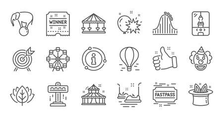 Amusement park line icons. Carousel, Roller coaster and Circus. Ferris wheel linear icon set. Quality line set. Vector