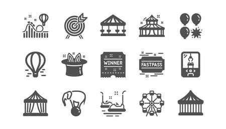 Amusement park icons. Carousel, Roller coaster and Circus. Ferris wheel classic icon set. Quality set. Vector Фото со стока - 131754566