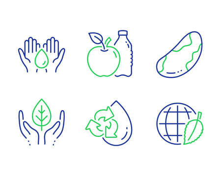 Apple, Recycle water and Fair trade line icons set. Safe water, Brazil nut and Environment day signs. Diet food, Refill aqua, Safe nature. Hold drop. Nature set. Line apple outline icons. Vector Çizim